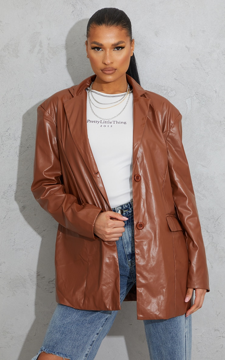 Toffee Faux Leather Oversized Dad Blazer 3