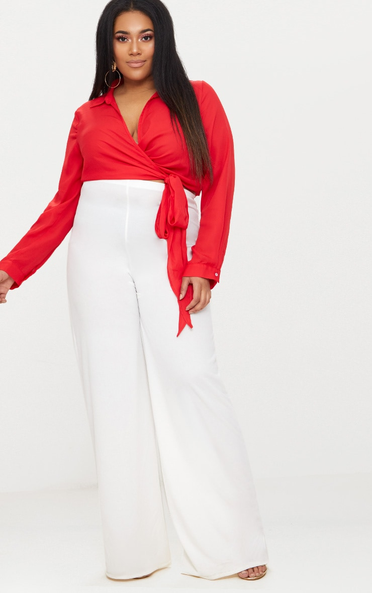 Plus Red Wrap Front Tie Side Top 4