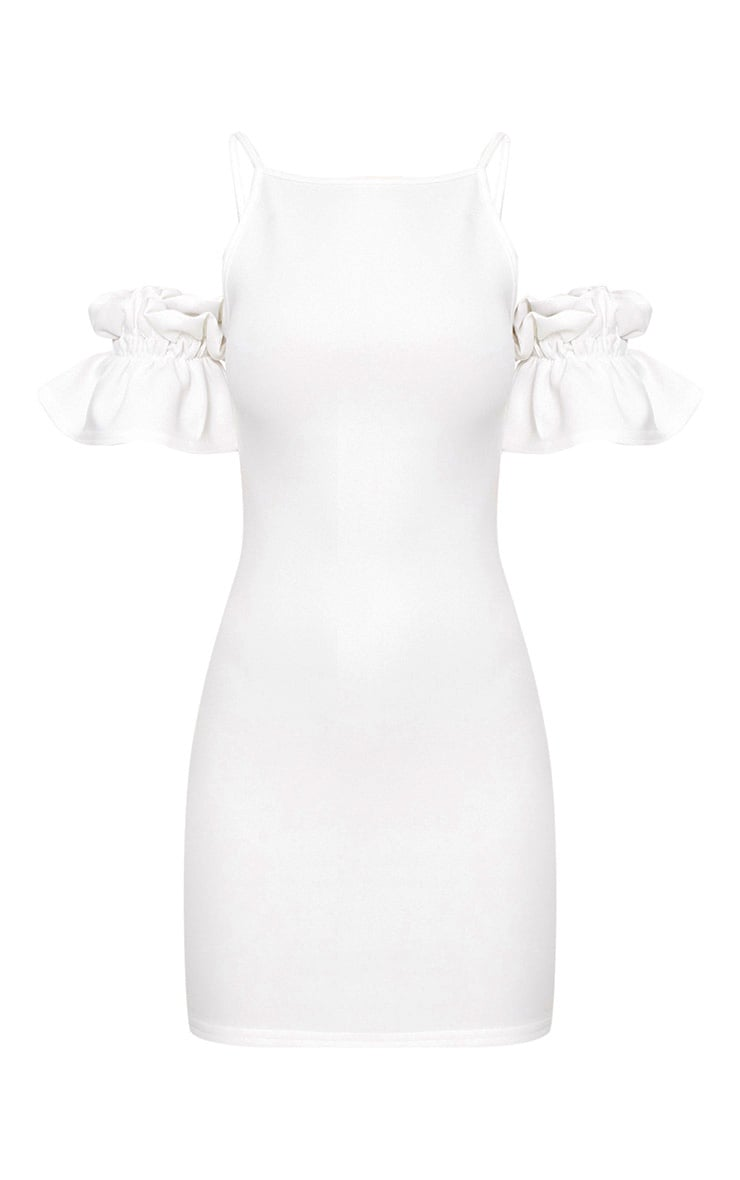 White Ruffle Sleeve Detail Cold Shoulder Bodycon Dress 3