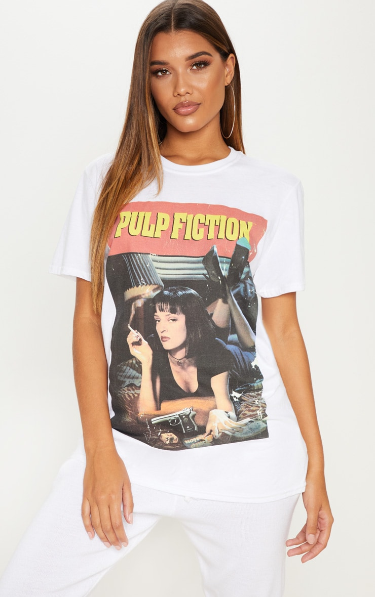 White Pulp Fiction Slogan T Shirt