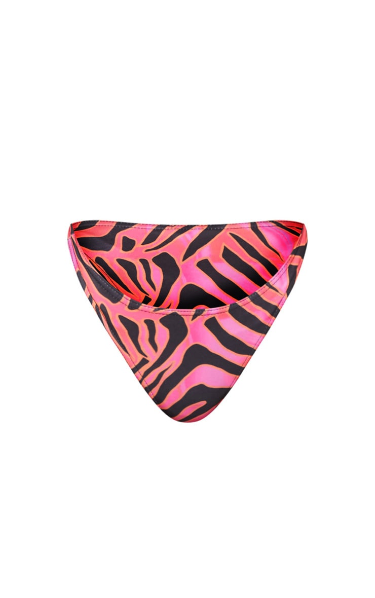 Hot Pink Zebra Print High Leg Bikini Bottoms 6