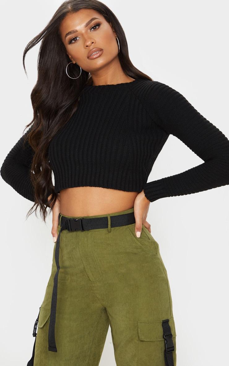 Black Cropped Rib Knit Sweater 1