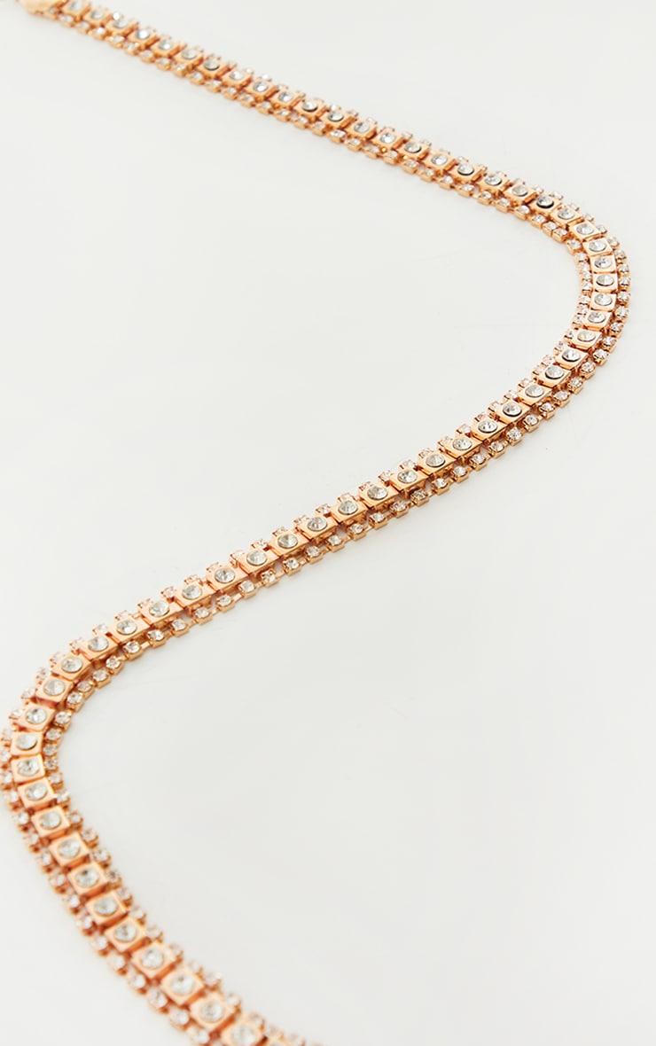 Gold Double Diamante Trim Chain Belt 2