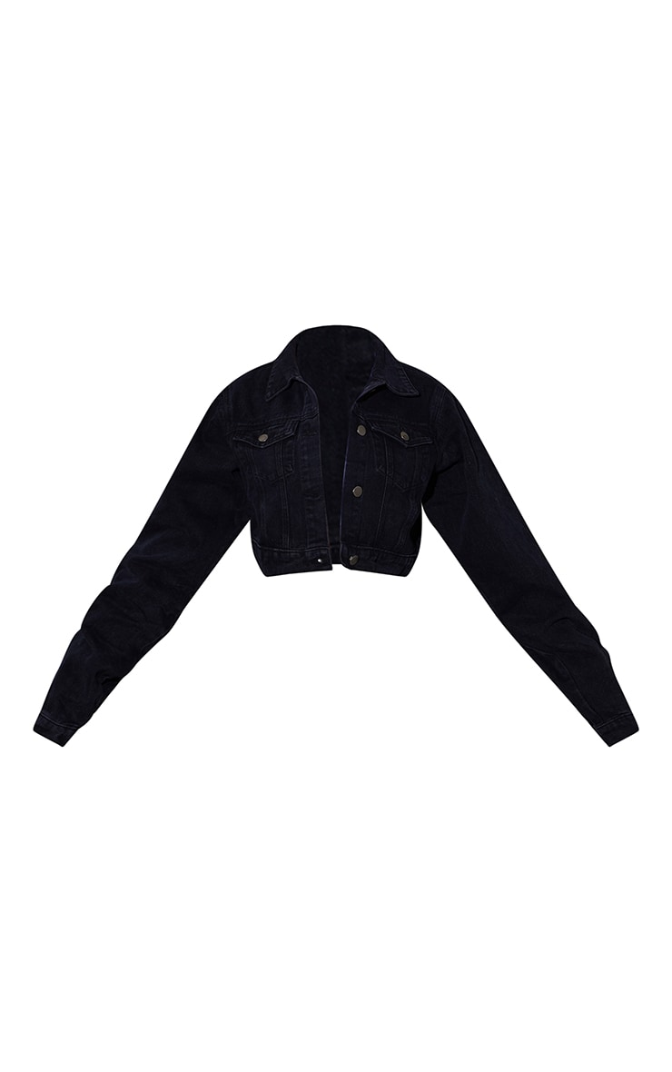 PRETTYLITTLETHING Washed Black Cropped Denim Jacket 5