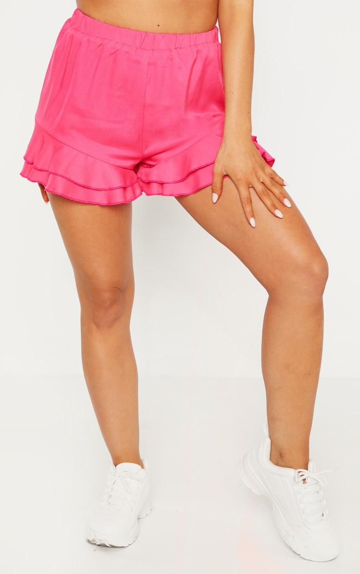 Petite Hot Pink Frill Hem Shorts 2