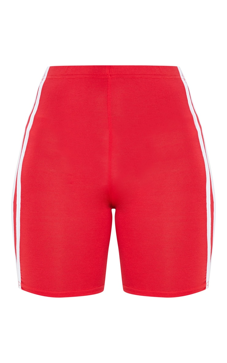 Red Double Side Stripe Bike Short 3