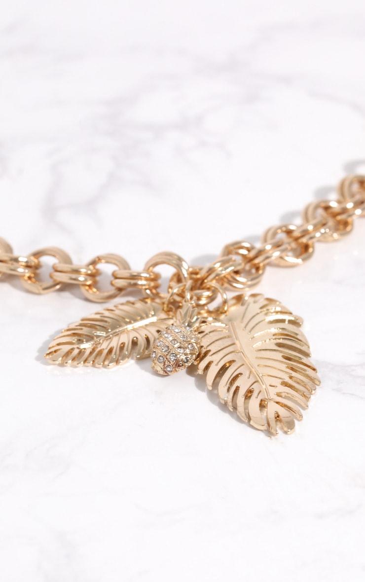 Gold Pineapple Leaf Chunky Chain Choker 2