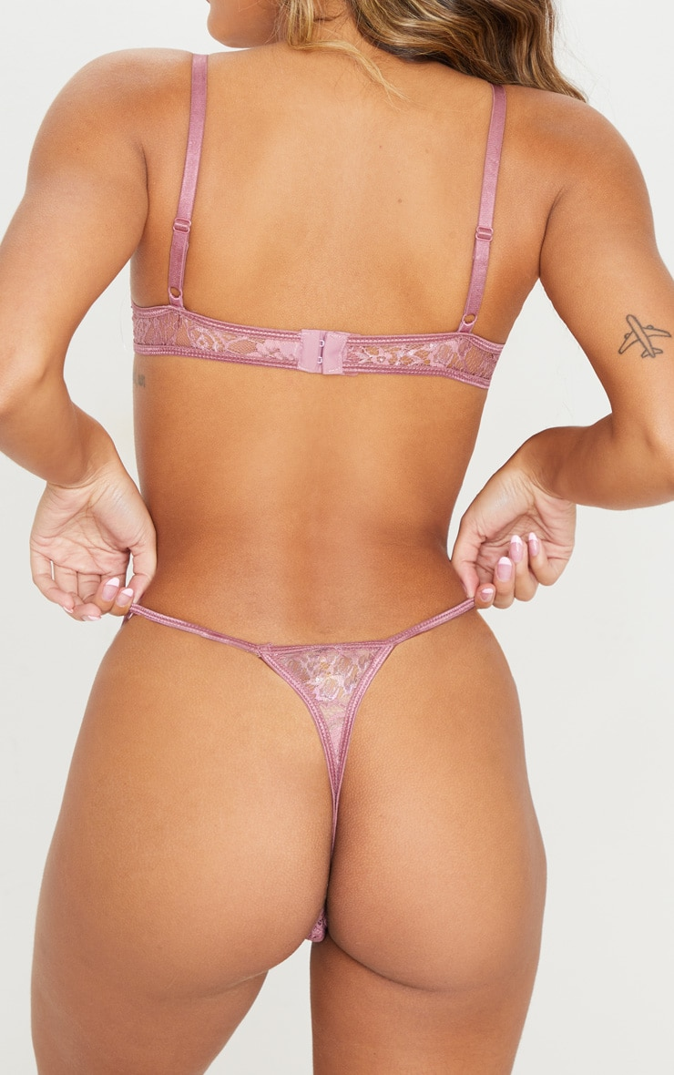 Mauve Eyelash Lace Strappy Thong 4