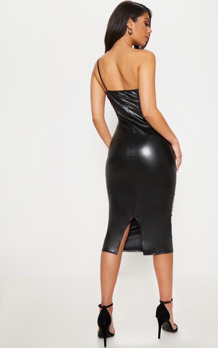 Black Faux Leather One Shoulder Cut Out Midi Dress 2