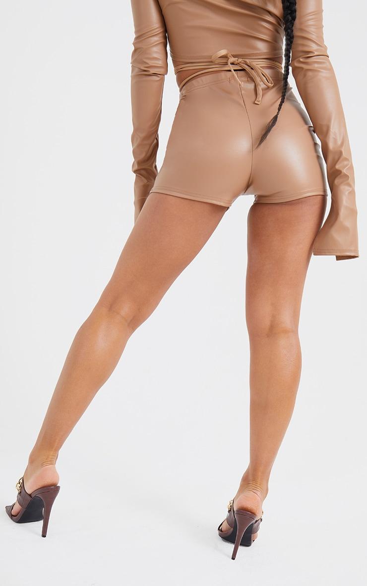 Stone Faux Leather Cross Tie Waist Shorts 3