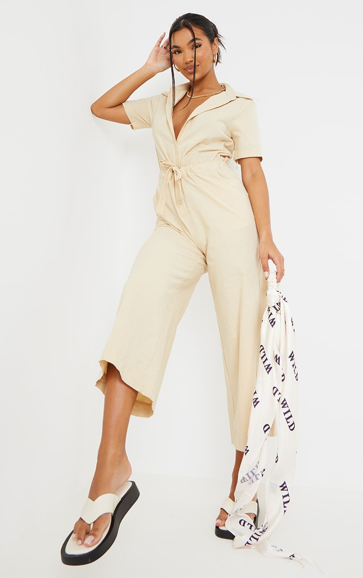Stone Linen Look Tie Waist Short Sleeve Shirt Jumpsuit 1