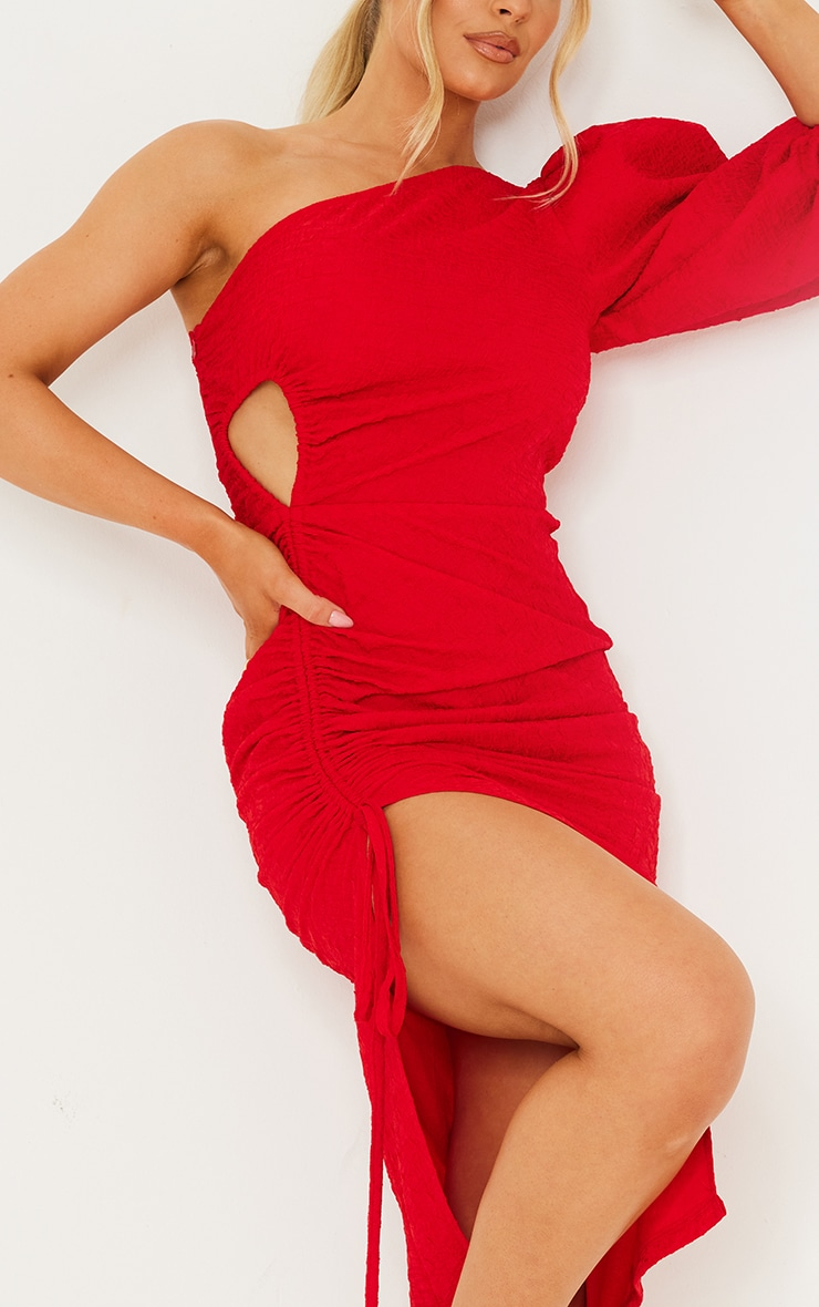 Red Crinkle Ruched One Shoulder Cut Out Midi Dress 4