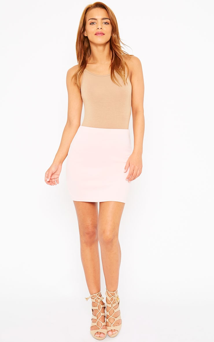 Basic Baby Pink Scuba Mini Skirt 4