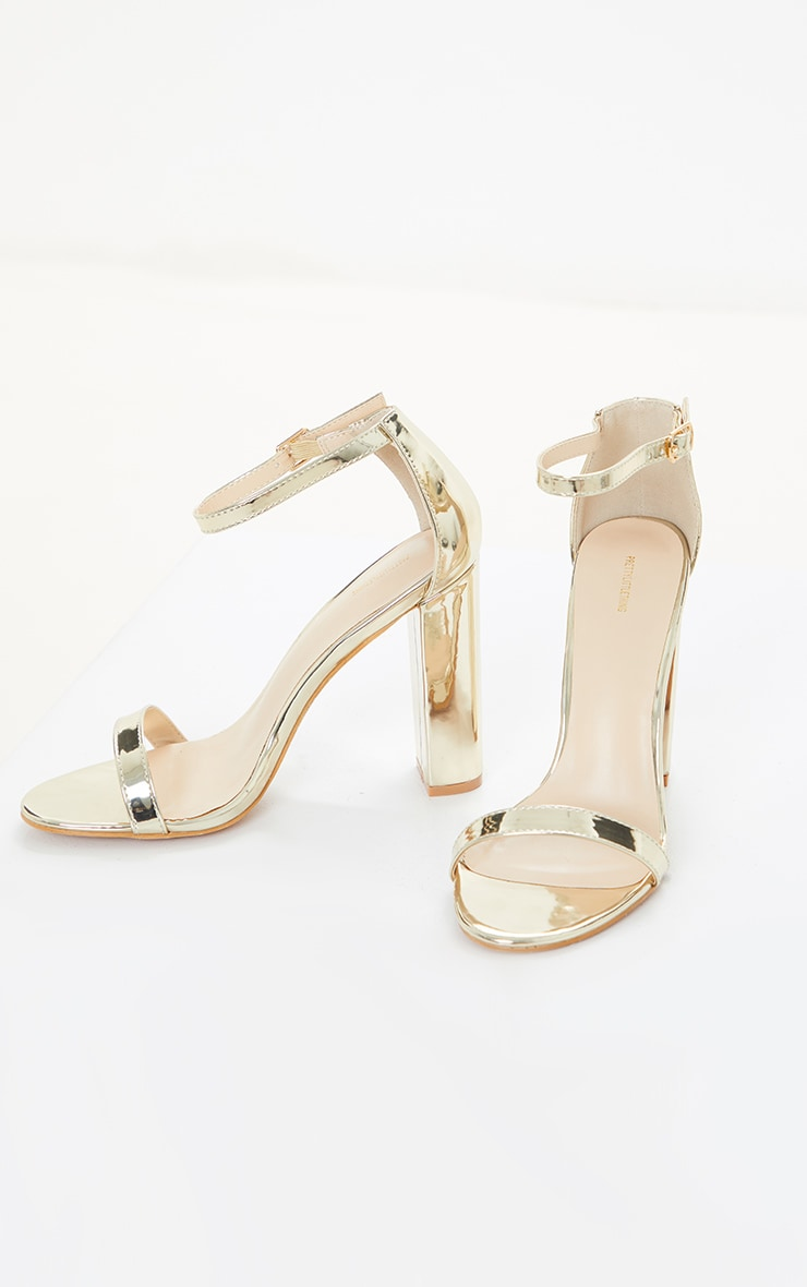 May Gold Block Heeled Sandal 4
