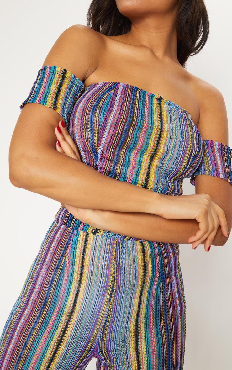 Multi Crochet Stripe Bardot Crop Top 6