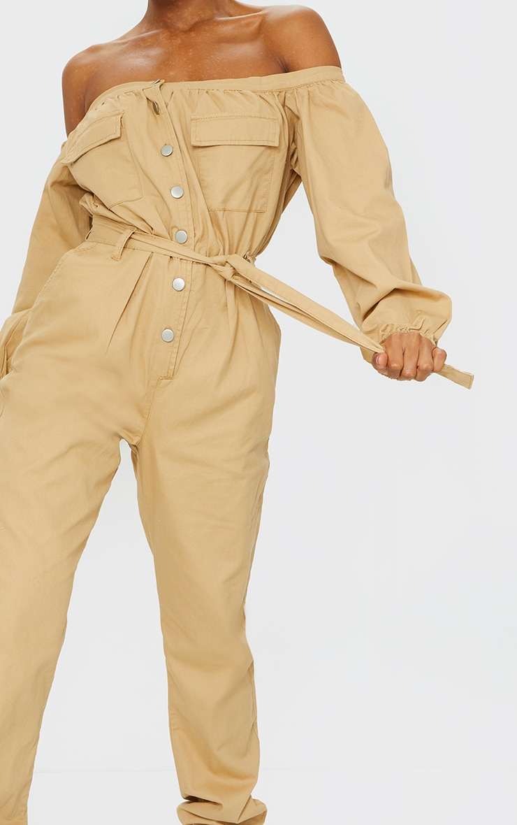 Sand Bardot Button Through Denim Joggers Jumpsuit 4