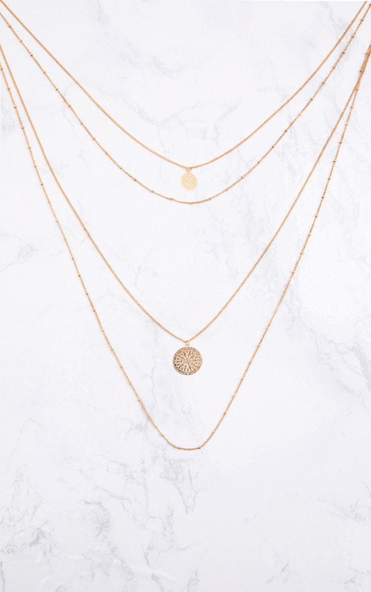 Gold Multi Disk Layered Necklace 2