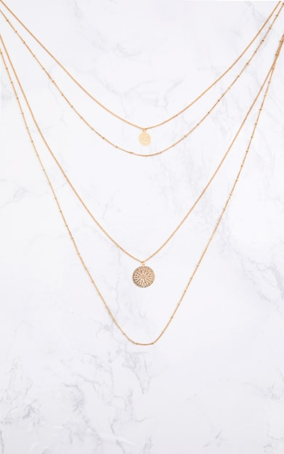 Gold Multi Disk Layered Necklace