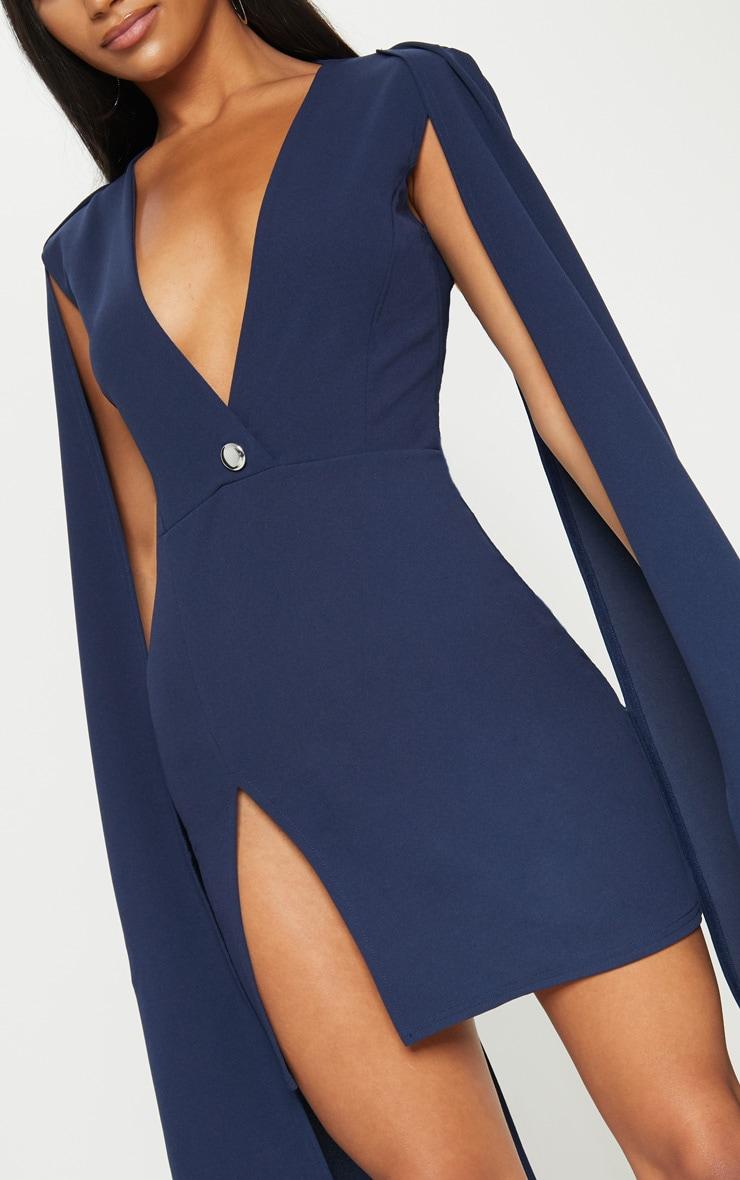 Navy Cape Blazer Dress Prettylittlething