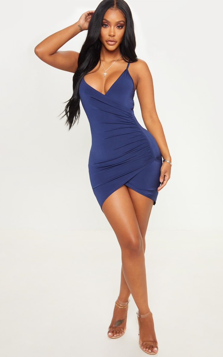 Shape Navy Ruched Side Strappy Bodycon Dress 4