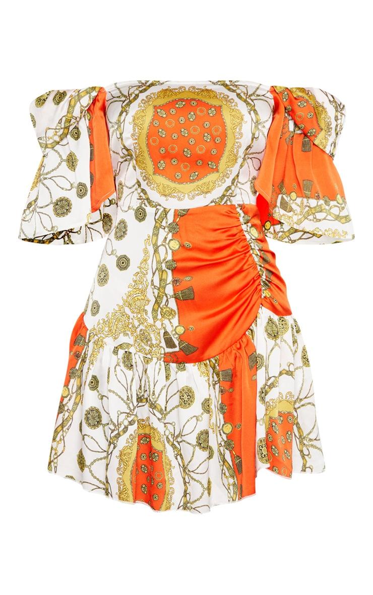 Robe droite orange imprimé chaîne à col bateau  3
