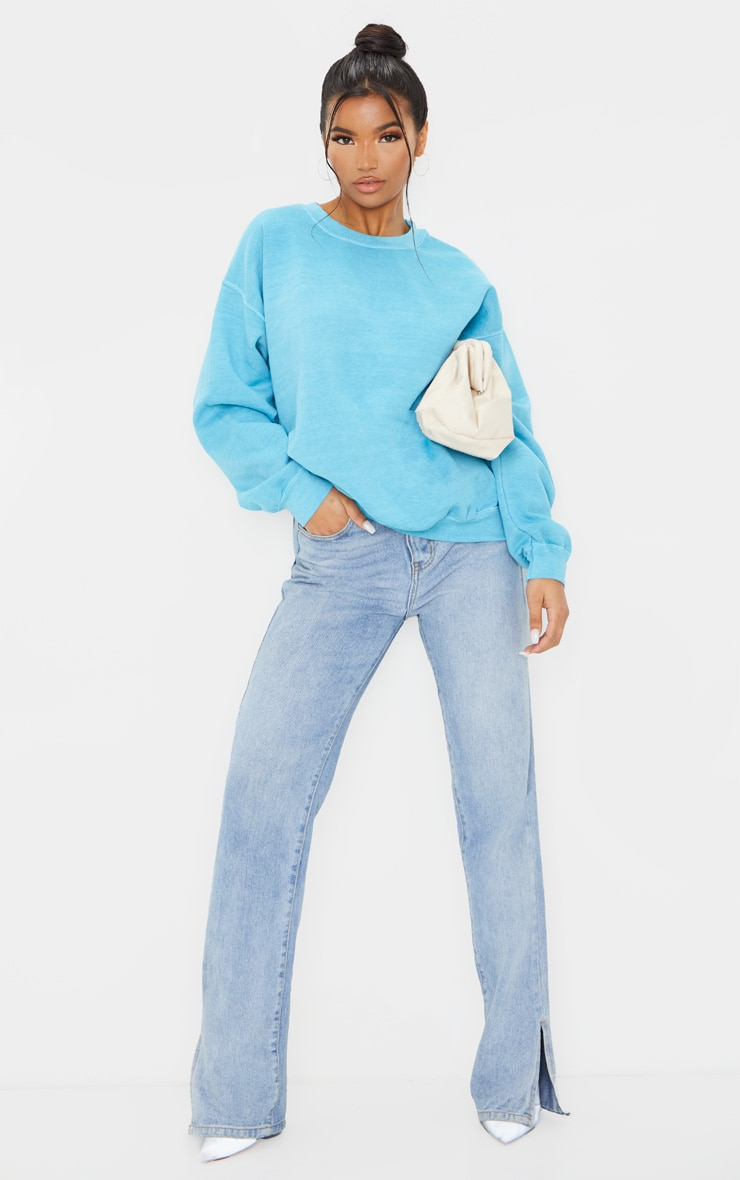Dusty Turquoise Washed Oversized Sweater 3