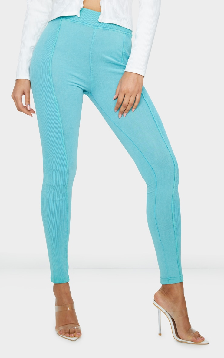 Teal Acid Wash Contrast Panel Rib Leggings 2