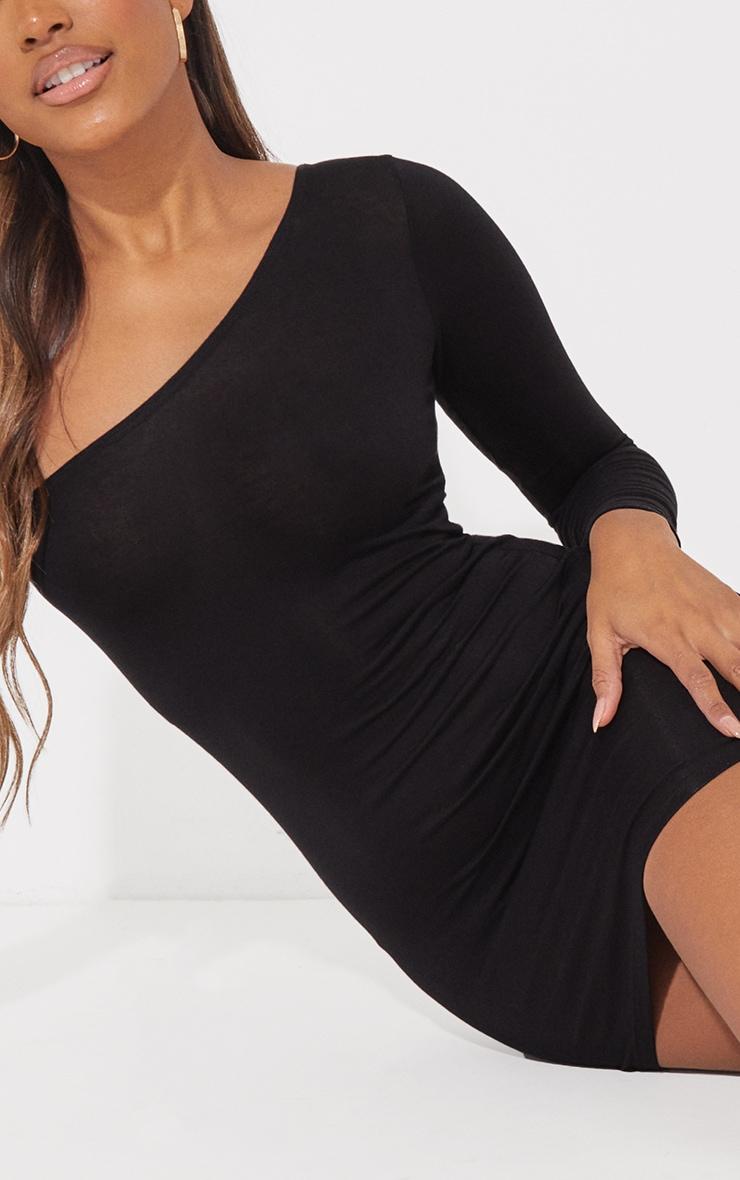 Black One Shoulder Long Sleeve Bodycon Dress 5