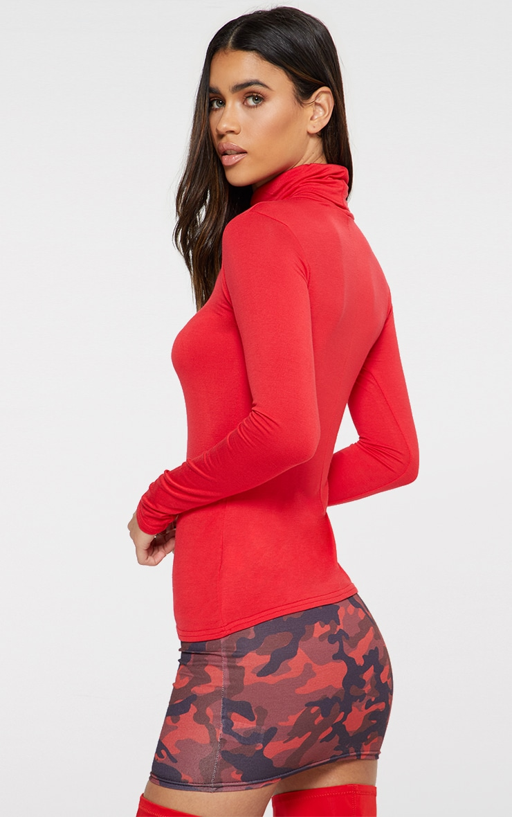 Basic Red Long sleeve Roll Neck Top  2