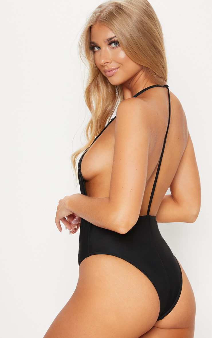 Cindi Black T-Bar Plunge Swimsuit 1