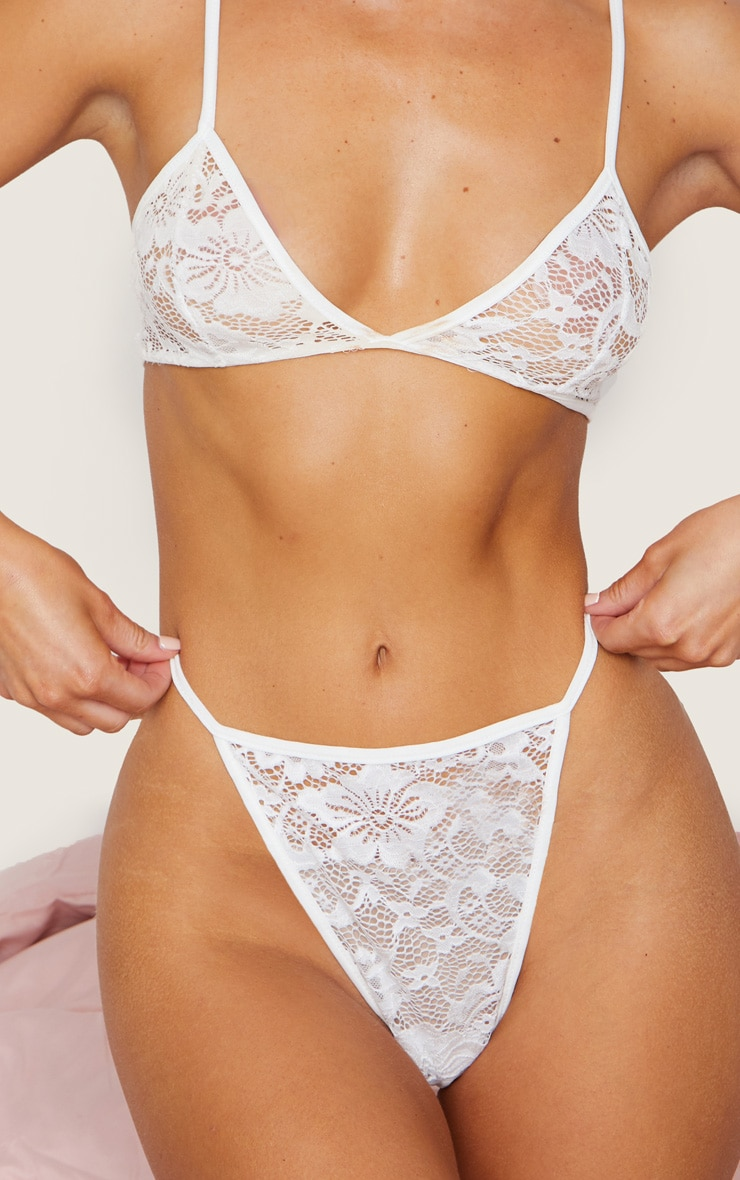 White Basic Lace Lingerie Set 4