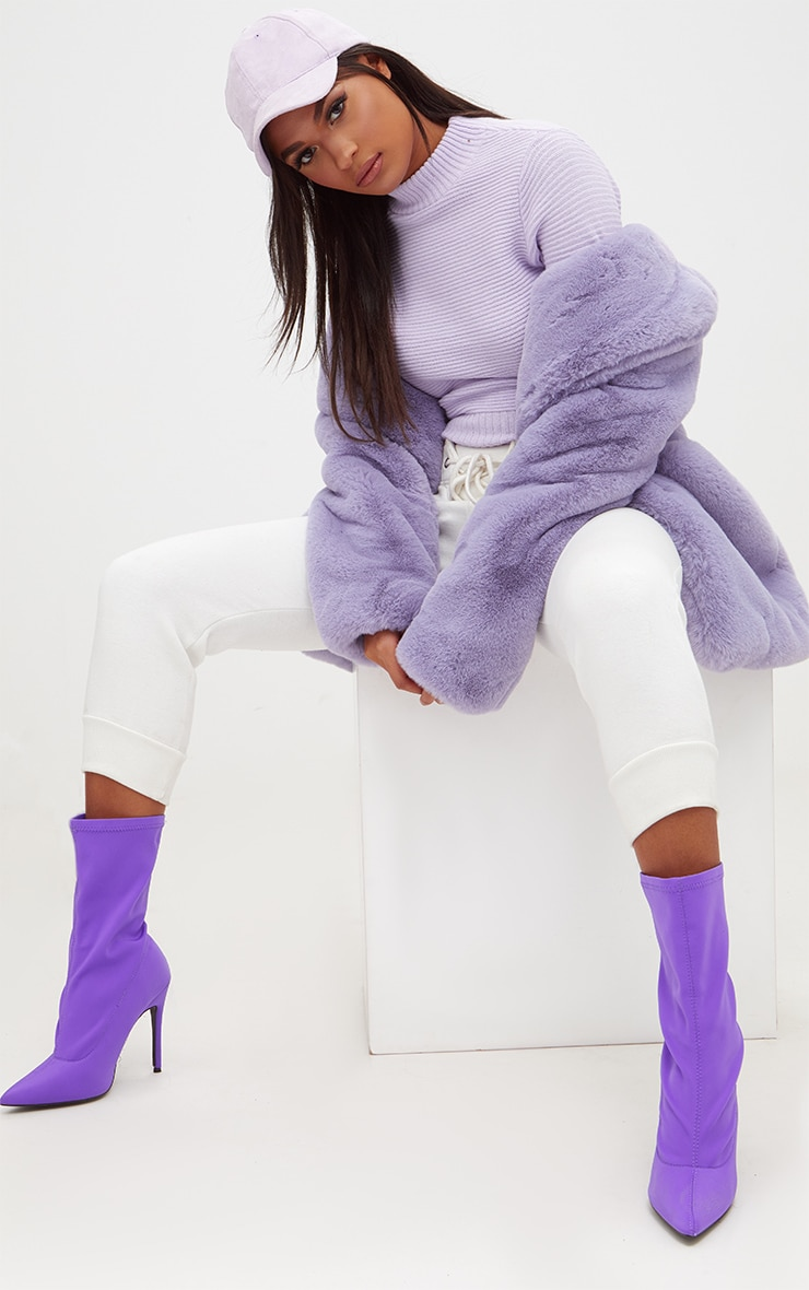 Lilac Ribbed Cropped Knitted Jumper 4