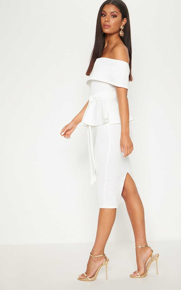 White Bardot Peplum Midi Dress 3