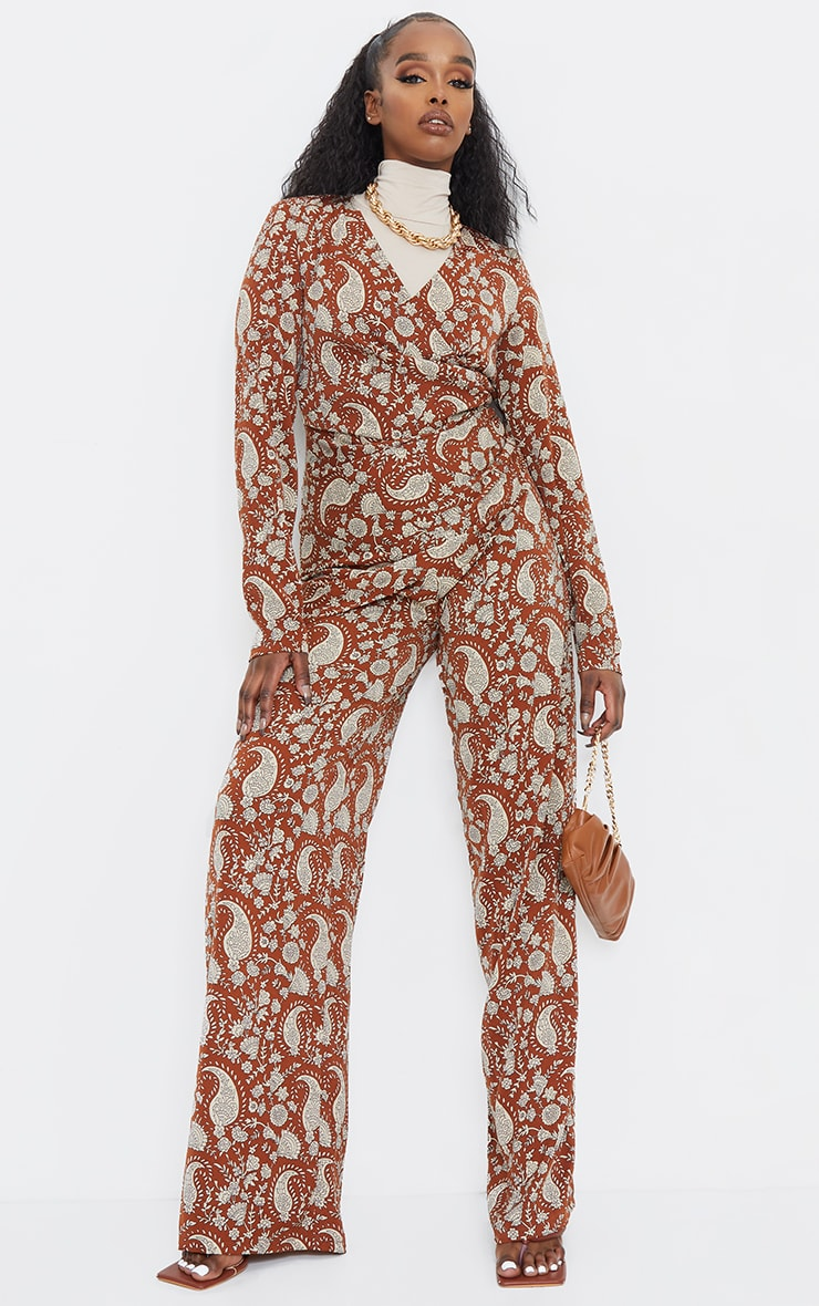 Rust Paisley Ruched V Neck Long Sleeve Jumpsuit 3