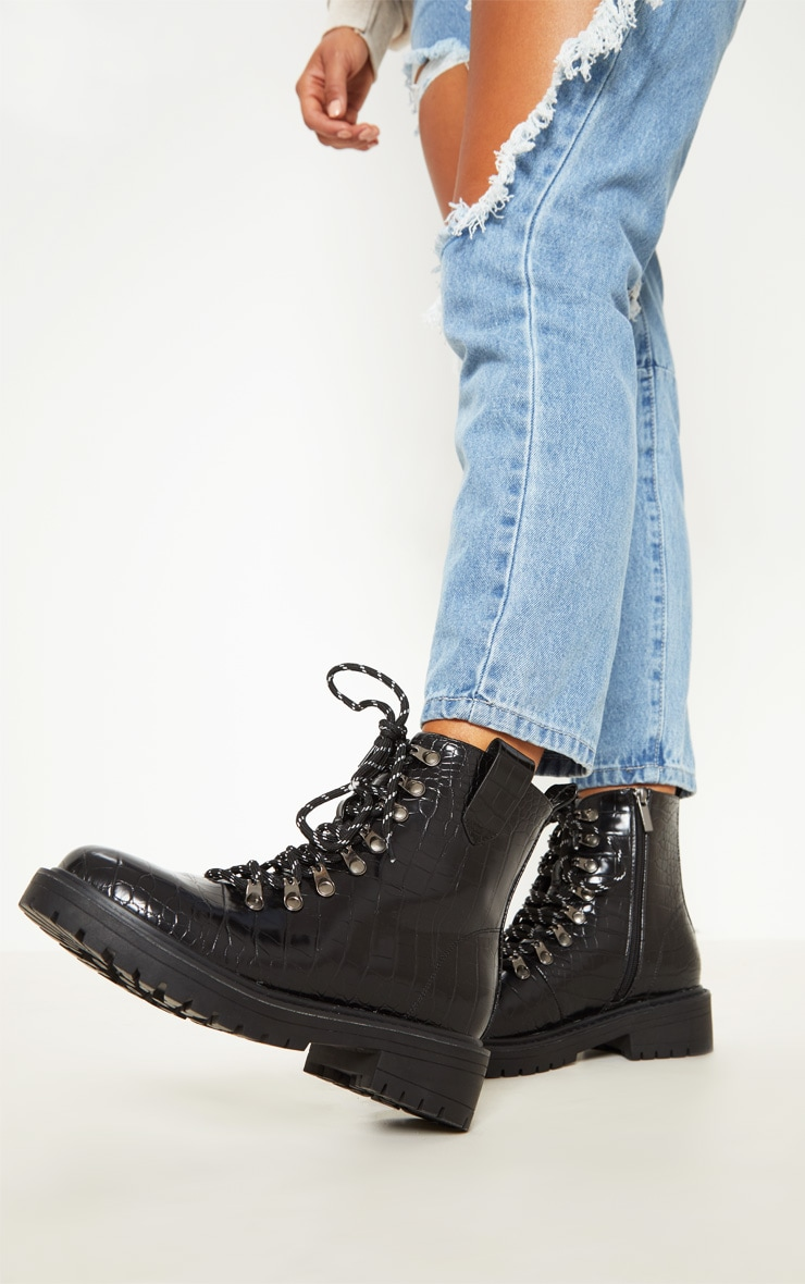 Black Croc Hiker Boot 1