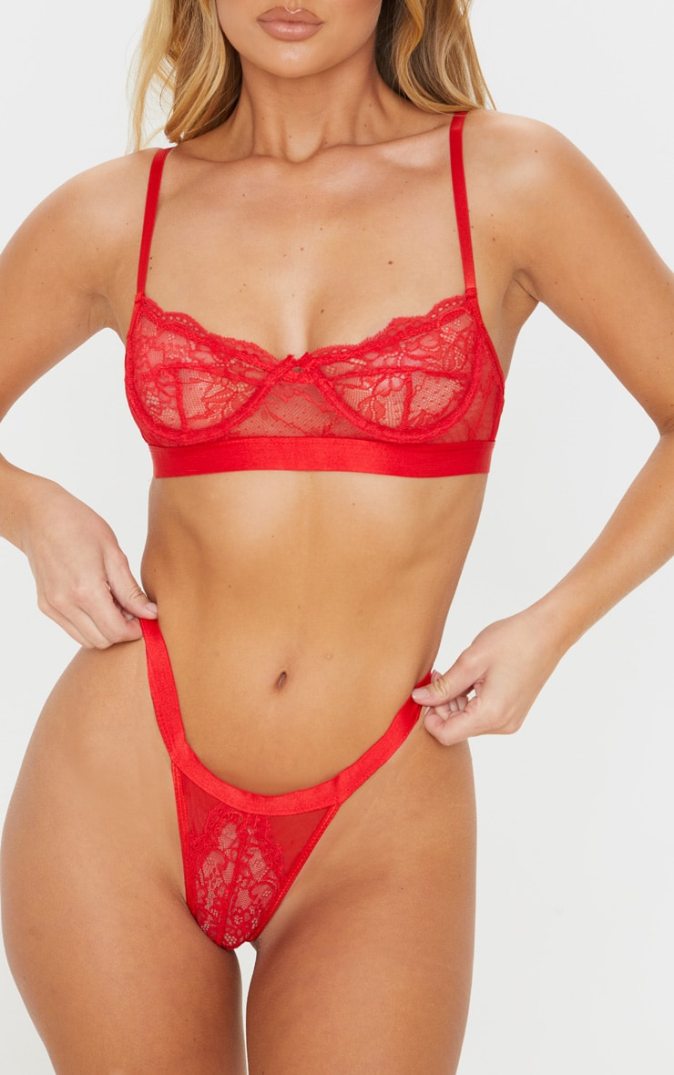 Red Delicate Lace Underwired Bra And Panties Set 5