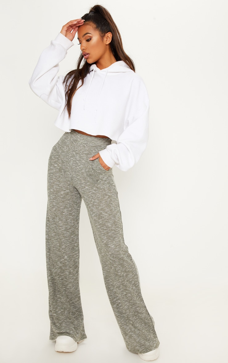 Khaki Ribbed Casual Wide Leg Trouser