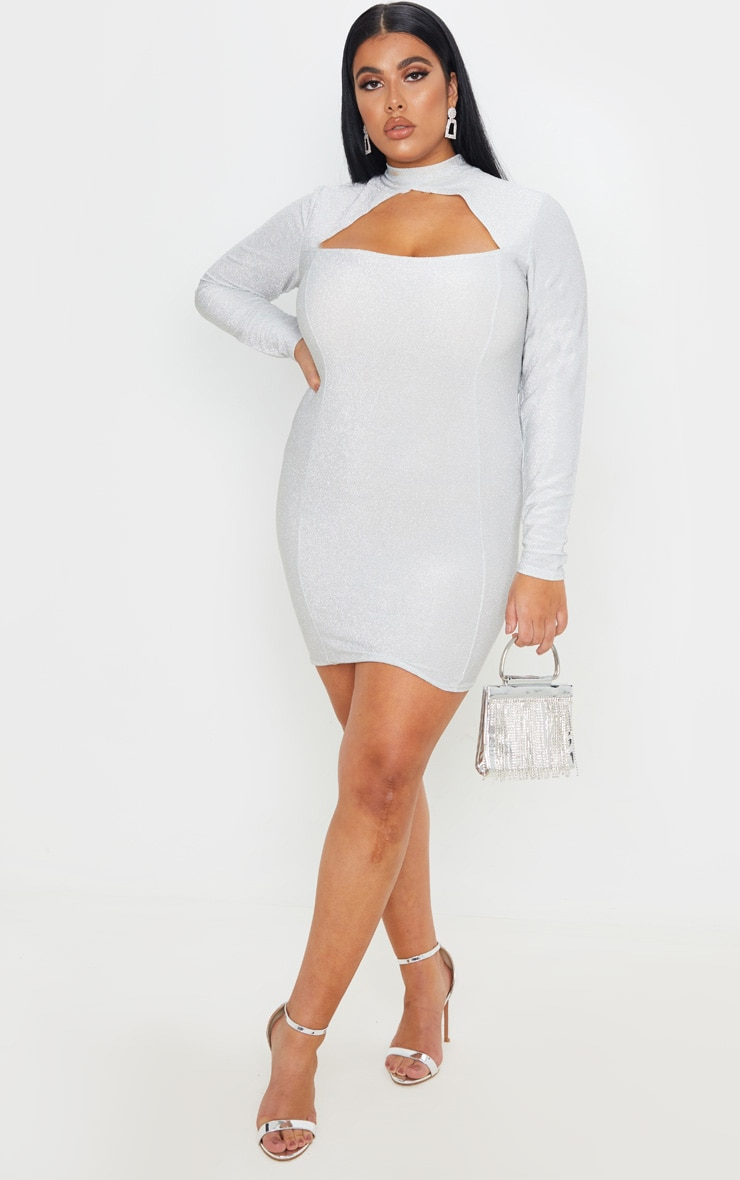 Plus Silver Glittery High Neck Bodycon Dress 1