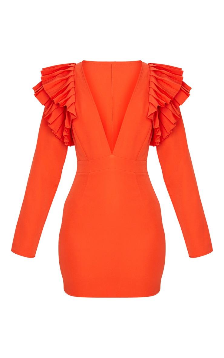Bright Orange Pleated Shoulder Long Sleeve Plunge Bodycon Dress 6