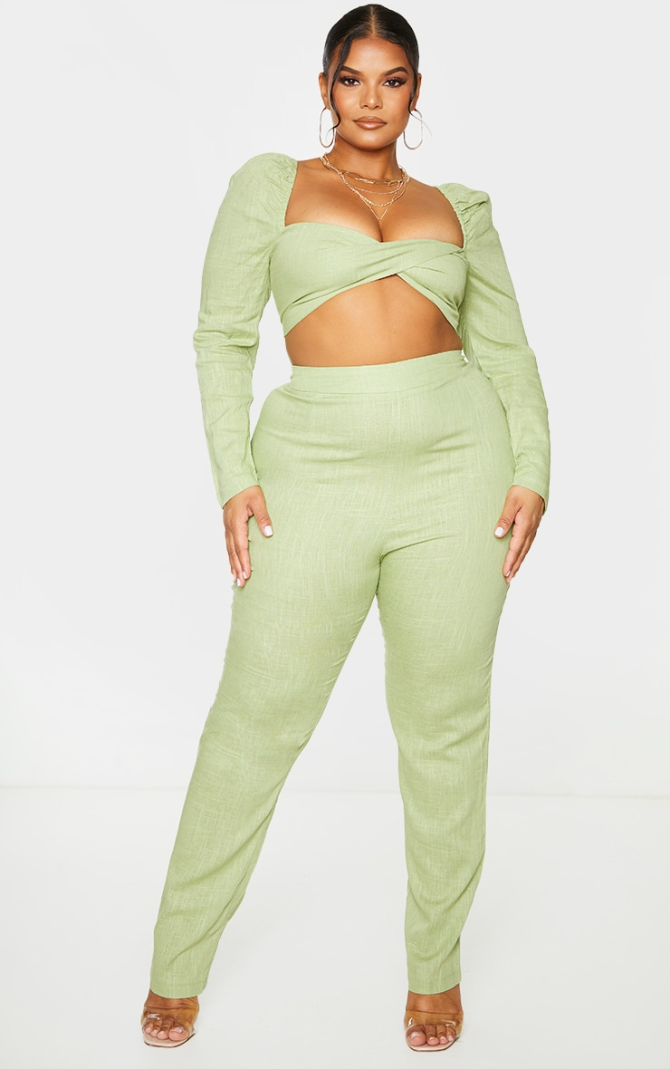 Plus Olive Woven Straight Leg Pants 1