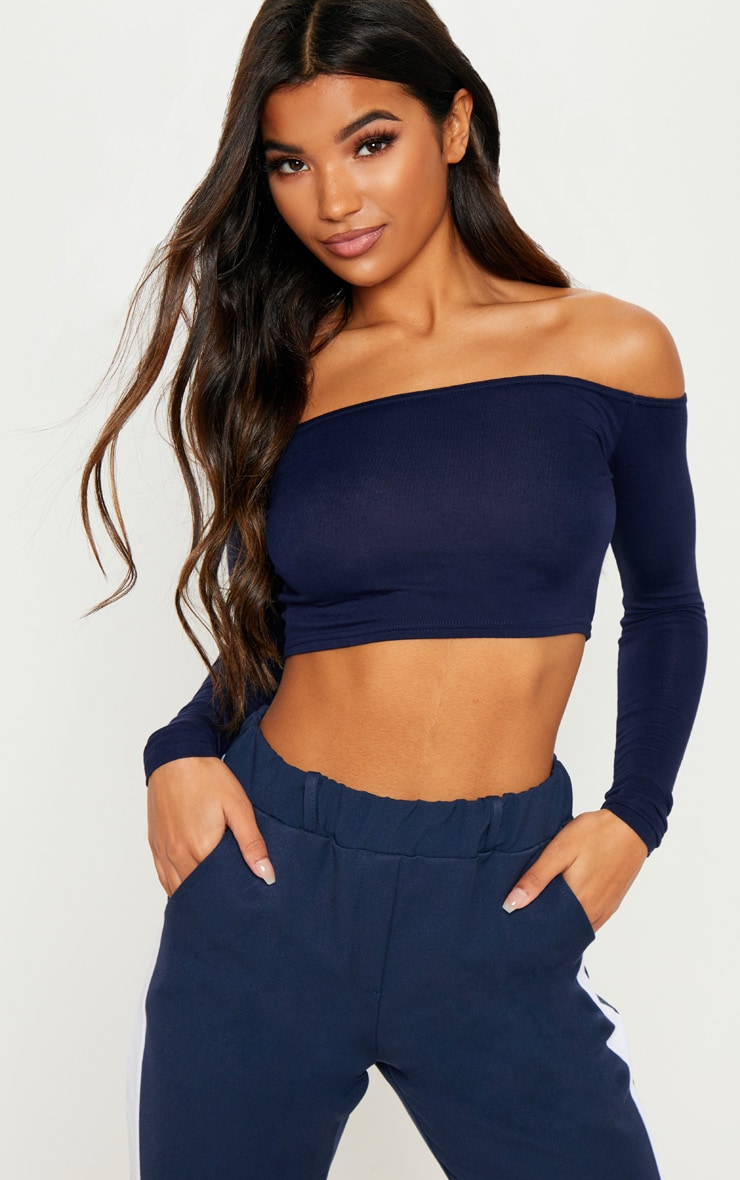 Basic Navy Bardot Jersey Long Sleeve Top