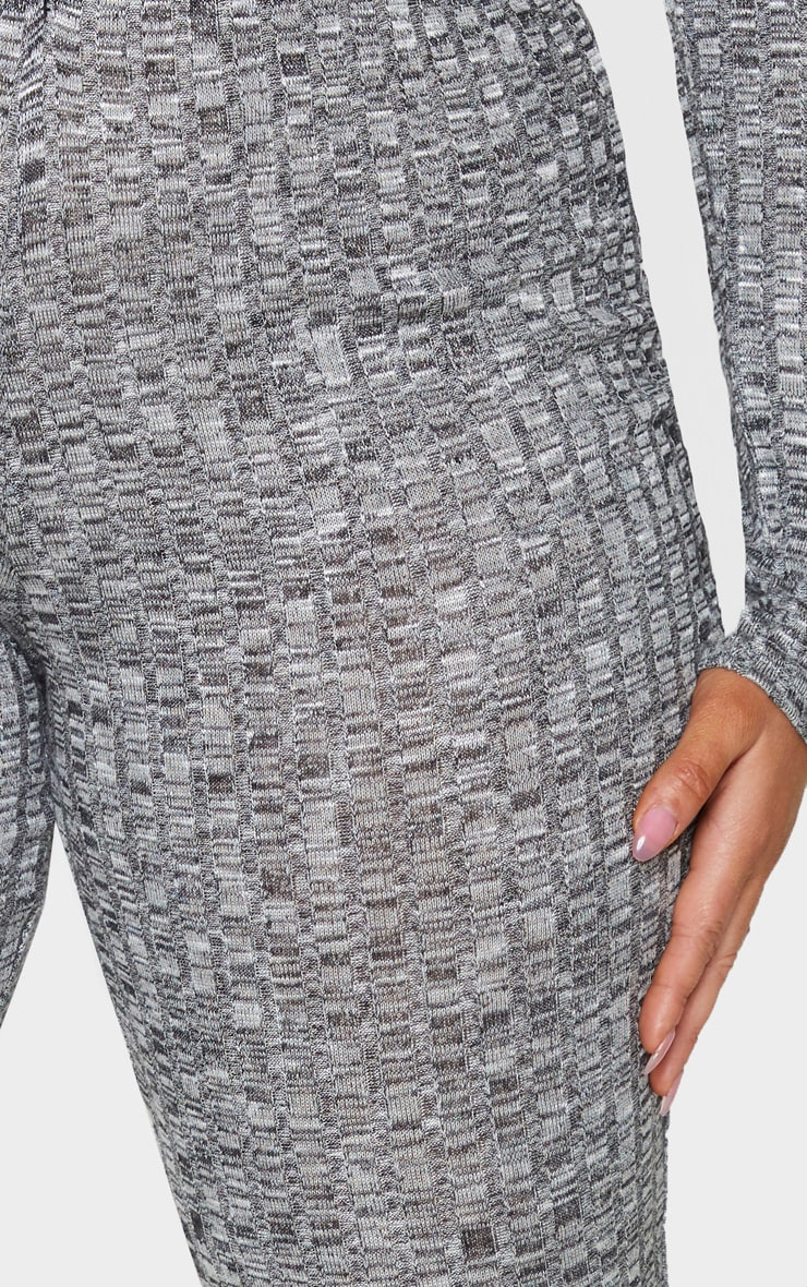 Plus Grey Knitted Rib Wide Leg Trousers 4