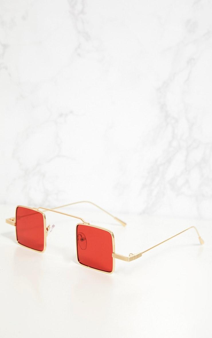 Red Small Square Sunglasses 3