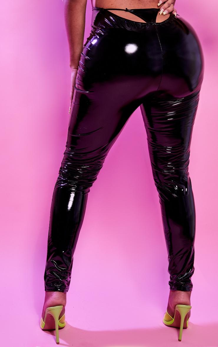 Shape Black Vinyl Thong Back Leggings 3