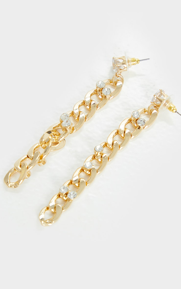 Gold Diamante Embellished Chain Drop Earrings 1