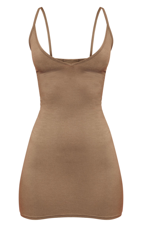 Basic Khaki Extreme Plunge Strappy Bodycon Dress 3