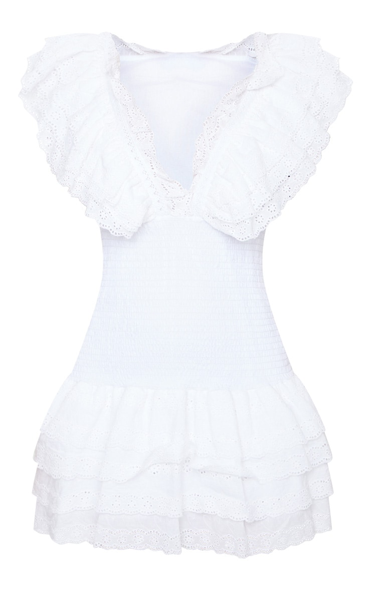 White Broderie Anglaise Shirred Frill Bodycon Dress 5