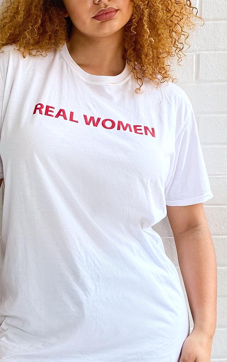 Plus White Real Women Slogan T-Shirt 4
