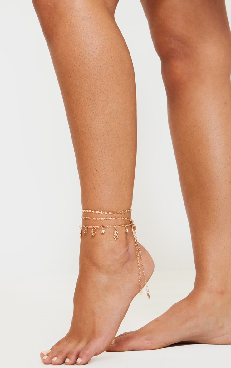 Gold Chain And Mini Circle Anklet 1