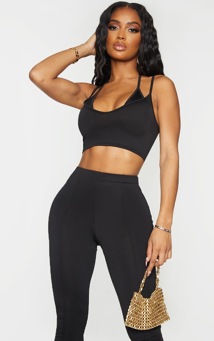 Shape Black Slinky Strap Detail Halterneck Crop Top 1